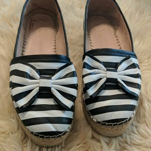 Kate Spade striped leather espadrilles size 8